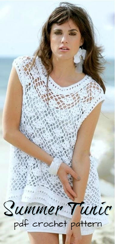 Love this pretty crocheted lacy summer tunic pattern! Perfect handmade beachwear! Super affordable pattern, too! Part of craftevangelist's top 10 summer Etsy picks! #craftevangelist