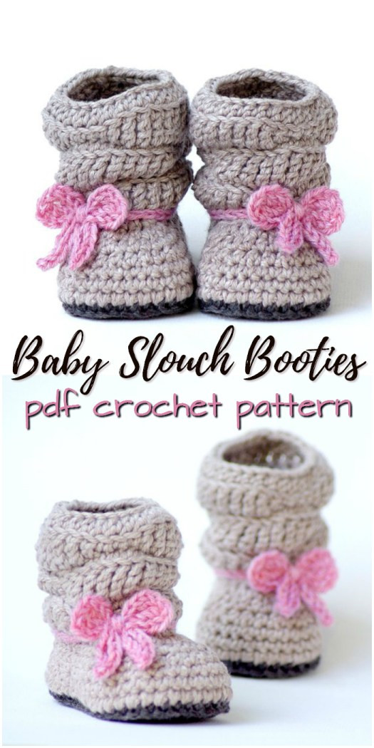 Adorable slouchy baby booties crochet pattern! Sweet little handmade baby shower gift for a new baby! Love these! #crochet #pattern #crafts #handmade #babybooties #slippers #craftevangelist