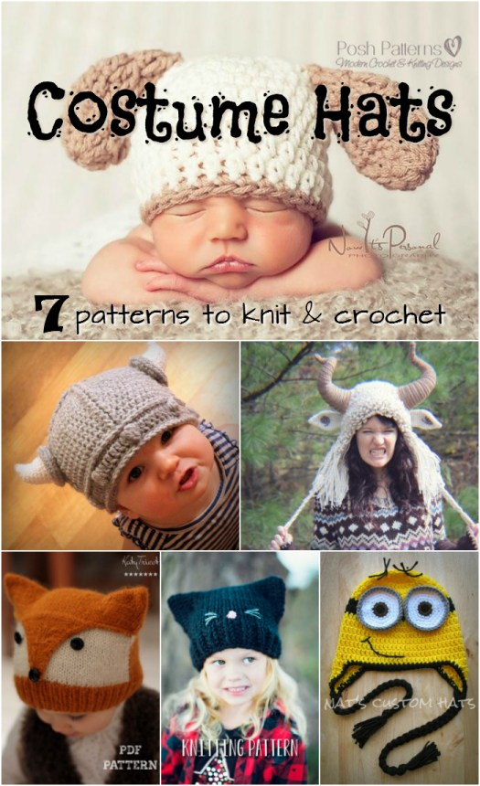 Seven awesome costume hats to knit and crochet! Great creative hat pattern round up by #craftevangelist #knit #crochet #hat #costumes #Halloween #minion #viking #wildthing #kitten #fox #monster