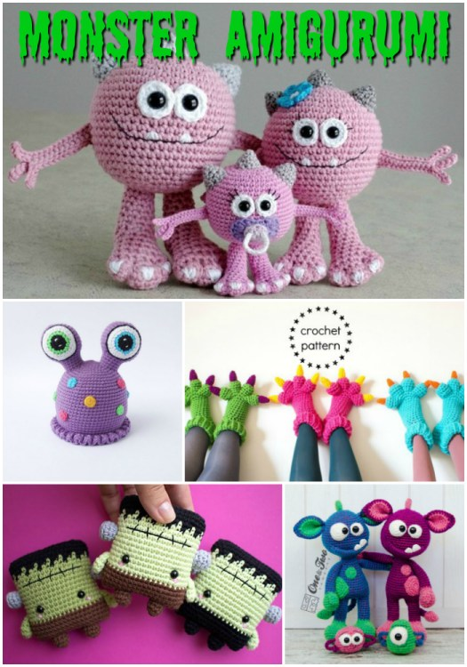 These sweet little monster crochet patterns are perfect for Halloween! Cute monsters, not scary! I love the little monster family! Check out this awesome pattern round up by #craftevangelist