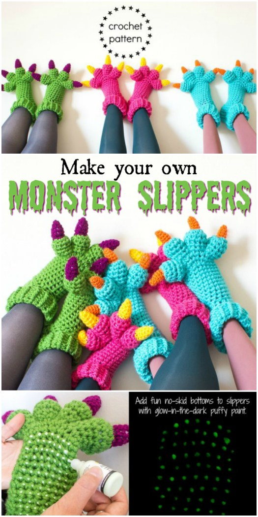 Make your own monster slippers! Lovely crochet pattern for cozy and fun monster slippers for the whole family!  Part of a monster pattern round up by #craftevangelist