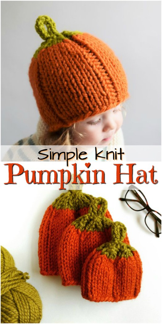 This adorable knit pumpkin hat is simple and quick to knit, perfect for the beginner knitter! A lovely handmade gift idea for a new fall baby! Love this hat design! #craftevangelist