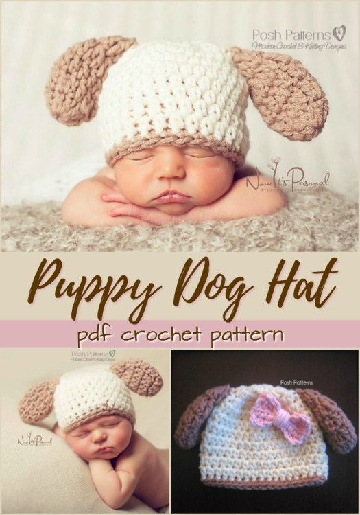 Aaawww! This adorable little puppy hat would make a sweet little photo prop for a newborn! This hat would make a great handmade gift idea for a baby shower! Love this adorable little sleepy puppy! #DIY #crafts #crochet #yarn #pattern #costume #puppy #dog #baby