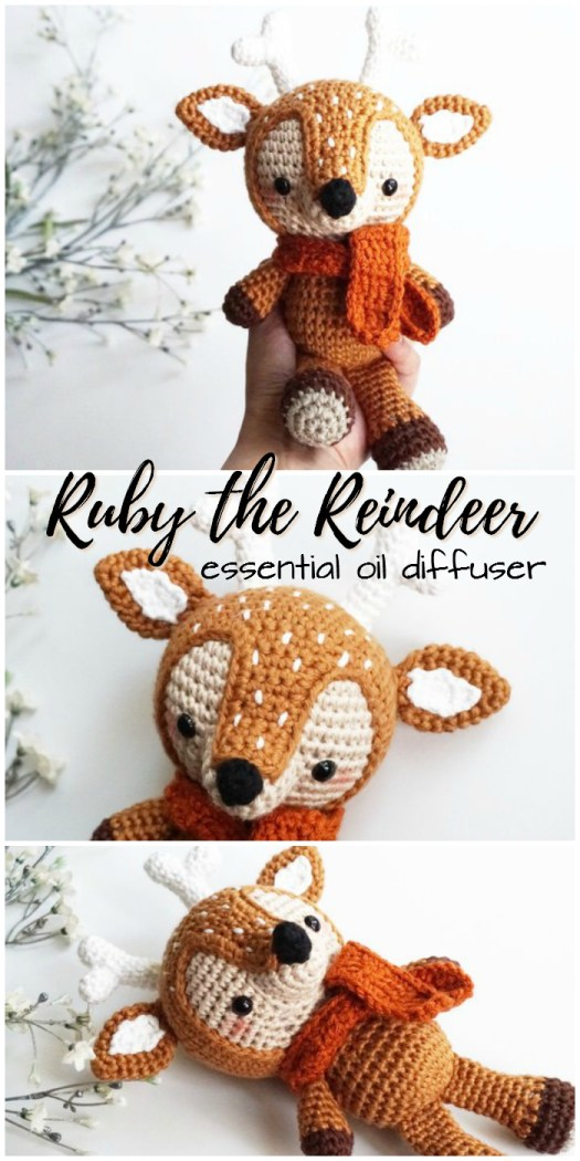 Ruby the Reindeer essential oil diffuser amigurumi crocheted stuffed toy for a child. Such a great gift idea! #craftevangelist