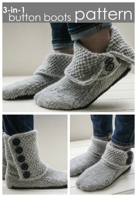 Love these gorgeous simple 3-in-1 button boots slippers knitting pattern! I like all the options! Great looking pattern! #crafts #knitting #knit #pattern #pdf #yarn #craftevangelist