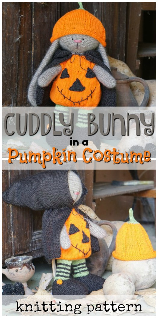 What an absolutely adorable bunny rabbit knitting pattern dressed up in a pumpkin costume! What a sweet Halloween gift idea for a new baby! #knitting #yarn #crafts #pattern #Etsy #rabbit #bunny #pumpkin #DIY #craftevangelist