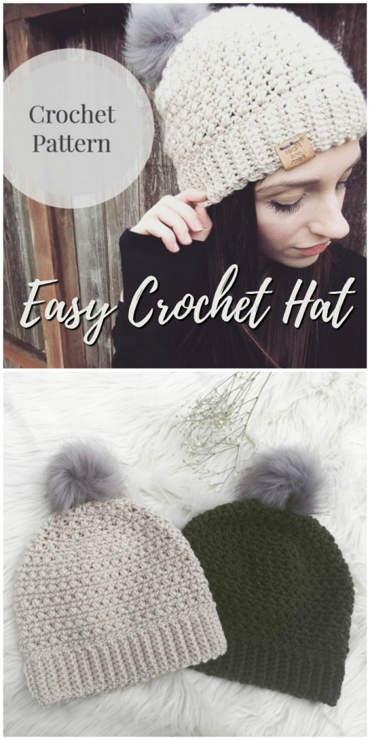 Love this sweet easy crochet hat pattern for a new crocheter! I love beginner patterns! They come together so quickly! A couple hours and you have a handmade gift or a new accessory! #crafts #yarn #crochet #pattern #craftevangelist #crochethat #crochetpattern #hatpattern #diy #handmadegifts #handmadehat