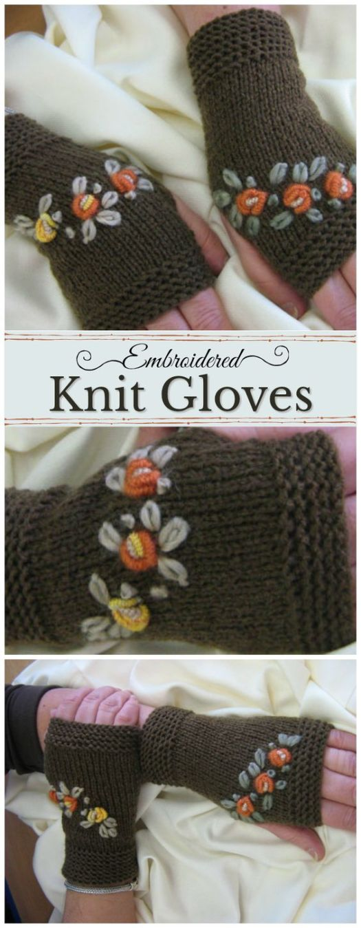 Beautiful handmade knitting gloves! Perfect for computer work or knitting with! I love the embroidered embellishments! #wristwarmers #handmade #embroidered #embellished #fingerlessgloves #fingerlessmitts #craftvangelist