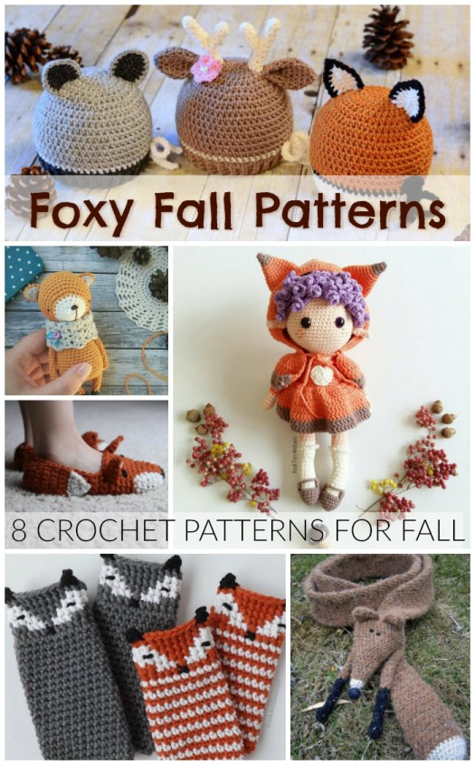 Foxes are so fall! Check out these crochet patterns for a whole bunch of fox patterns to make! #crochet #pattern #foxes #yarn #crafts #diy #amigurumi #scarf #slippers #bootcuffs #hat #beanie #toque #fall