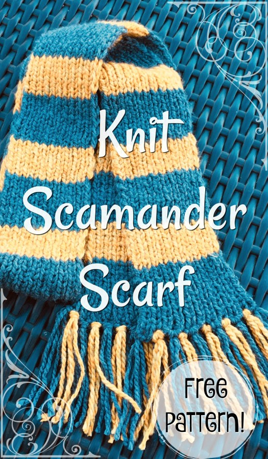 Free knitting pattern for this Newt Scamander Scarf from Fantastic Beasts and Where to Find Them! Perfect handmade gift idea for the Harry Potter fan! #craftevangelist #freepattern #knitting #knitpattern #pattern #scarf #potterhead #harrypotter #newtscamander #fantasticbeasts #yarn #crafts #