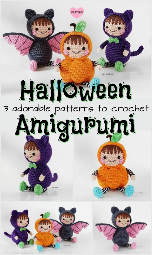 Three sweet little amigurumi dolls in Halloween costumes! Love the little chunky pumpkin! These would make great handmade gifts to crochet! #crochet #pattern #halloween #cat #pumpkin #bat #adorable #cute #crafts #DIY #handmade #stuffies #toys