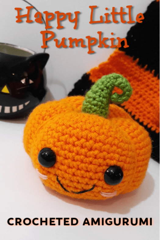 What a sweet little amigurumi pumpkin! Perfect happy little Halloween decoration! #crochet #yarn #premade #etsy #maketoorder #craftevangelist