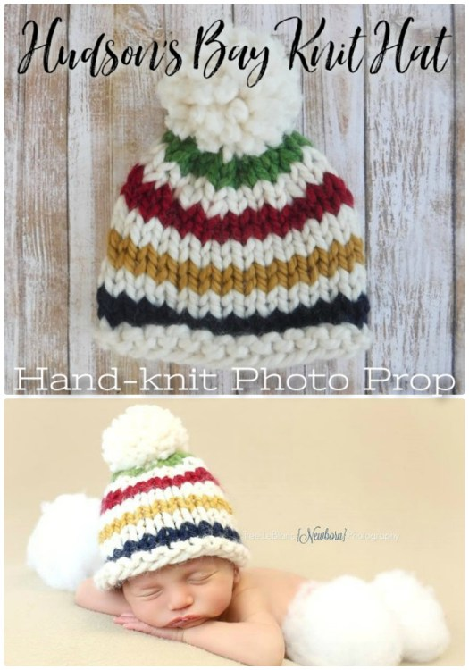 What an adorable chunky hand-knit hat! Looks like a Hudson's Bay blanket! What a sweet little hat! A perfect photo prop!
