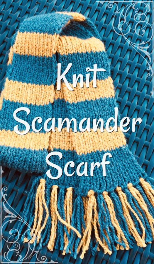 Free knitting pattern for this Newt Scamander Scarf from Fantastic Beasts and Where to Find Them! Perfect handmade gift idea for the Harry Potter fan! #craftevangelist #freepattern #knitting #knitpattern #pattern #scarf #potterhead #harrypotter #newtscamander #fantasticbeasts #yarn #crafts