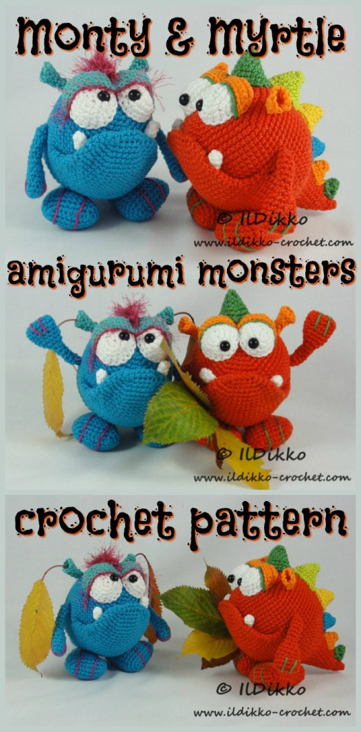 What a couple of fun cute monster crochet amigurumi patterns! Monty & Myrtle Monster! What a fun idea for Halloween! #yarn #crochet #amigurumi #pattern #diy #crafts #craftevangelist