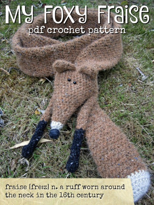 Fun fox scarf to snuggle around your neck: My Foxy Fraise! Great crochet pattern to make for a fox loving friend! #crochet #pattern #pdf #diy #crafts #yarn #scarf #craftevangelist