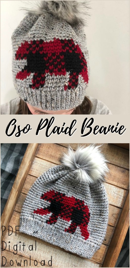 Wow! Look at this beautiful bear pattern in plaid on this crocheted hat! So impressive! I love the furry pompom and the gorgeous plaid! So great for fall and winter!