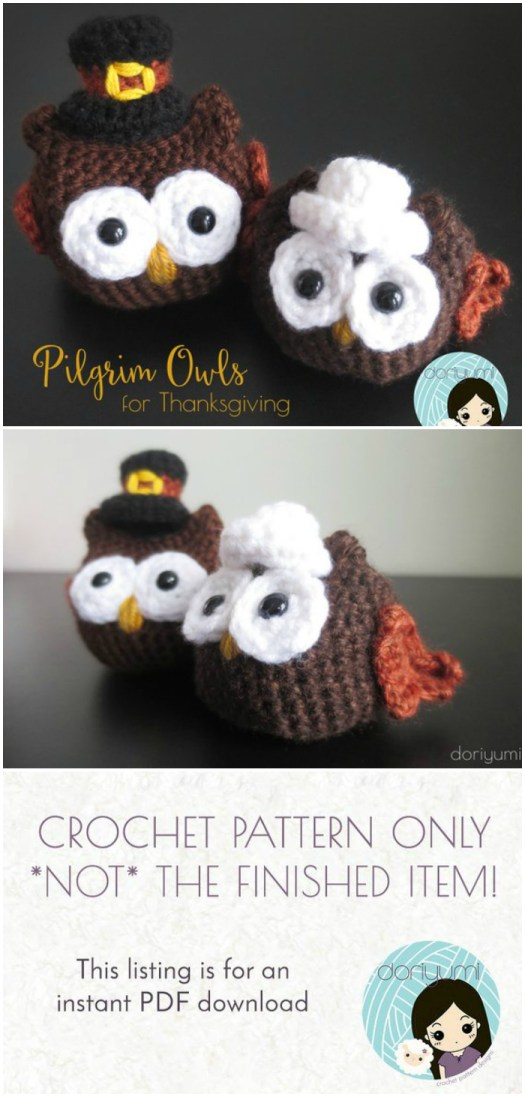 Adorable crochet pattern for amigurumi pilgrim owls, perfect handmade decor for Thanksgiving. Check out all of #craftevangelist's Thanksgiving-Themed Patterns! #crochet #amigurumi #pattern #crafts #yarn #diy