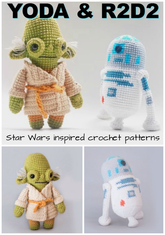 Great pdf amigurumi crochet patterns inspired by Star Wars! I love the R2D2! These would make perfect handmade gifts for the Star Wars lover! #crochet #pattern #amigurumi #toys #handmadestuffedtoys #stuffedtoys #crochetedtoys #yarn #crafts #handmadegifts #giftideas