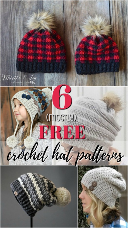 Almost all of these adorable crochet hat patterns are FREE! I love the fur pompoms and the slouchy hats that are so popular! They're the best! #crochet #patterns #free #yarn #craftevangelist #patternroundup