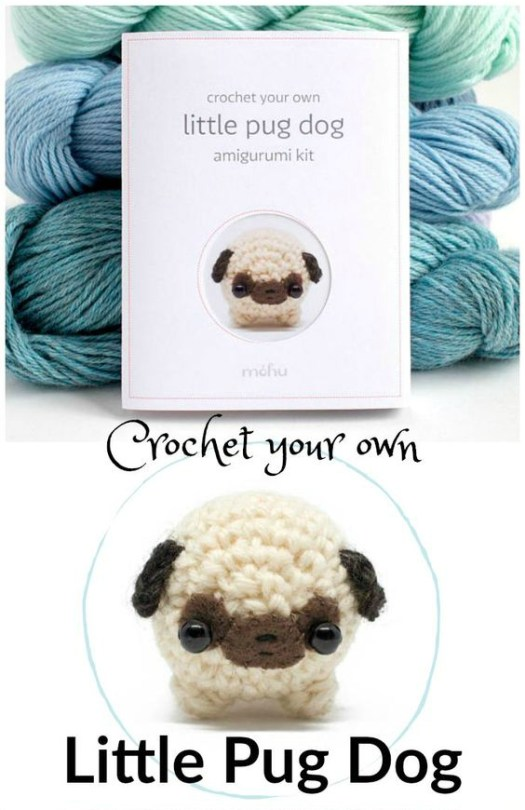Complete kit for this adorable little pug dog amigurumi crocheted stuffy! Perfect to make a gift or to give as a gift to a new crocheter! #crochet #pattern #patternkit #yarn #crafts #gifts #handmadegifts #etsy #crochetyourown #craftevangelist