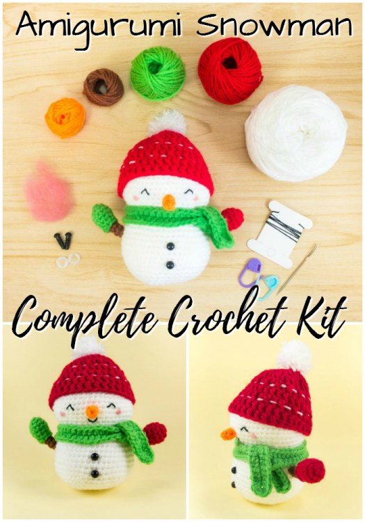 Sweet little snowman amigurumi crochet kit complete with pattern and yarn to make this adorable little snowman! Great gift idea for a new crocheter! #beginner #crochet #easy #amigurumi #crochet #pattern #kit #yarn #crafts #craftevangelist