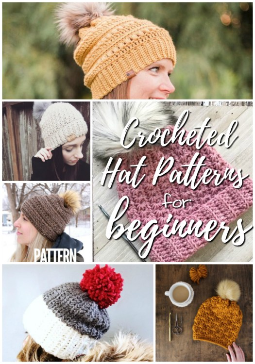 Check out all these crocheted hat patterns for beginner crocheters! I love all the textures and pompoms! #crochet #pattern #beginner #easy #hat #crochethat #crochetpattern #yarn #crafts #beginnerpatterns #easycrochet #easypattern #novice #craftevangelist