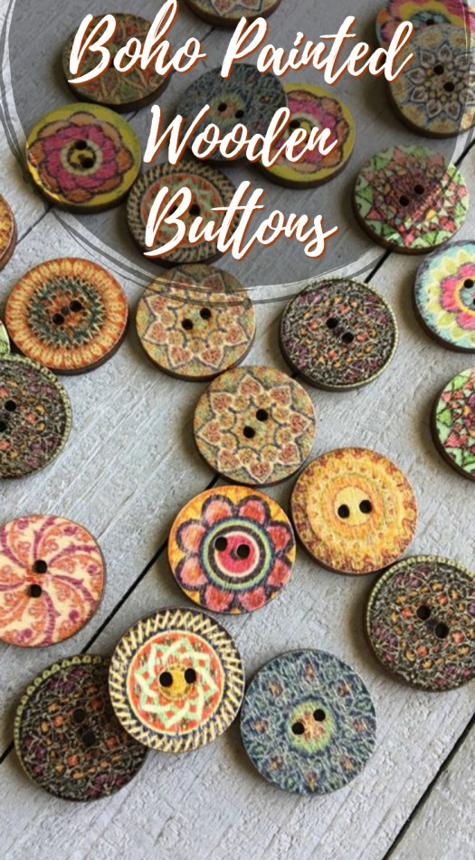 Such fun Boho Painted Wooden Buttons! Great little thoughtful gift idea for a knitter! It's fantastic to have a great stash of buttons to finish off special knitting projects! #buttons #knitting #giftsforknitters #giftideas #stockingstuffers #craftevangelist #etsy