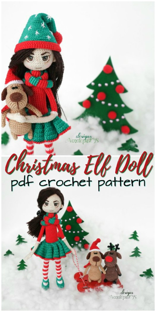 Love this sassy Christmas Elf Doll for a handmade teen Christmas gift! Perfect little doll crochet amigurumi pattern! #crochet #patterns #amigurumi #holiday #christmas #stuffies #toys #handmade #gift #ideas #yarn #crafts #craftevangelist