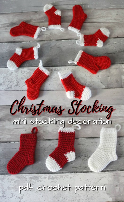 These little stockings would make great advent calendar holders! Perfect little stocking decoration crochet pattern for Christmas! #crochet #pattern #baby #christmas #stocking #pdf #yarn #crafts #craftevangelist