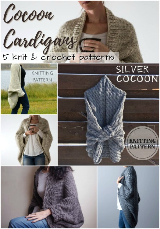 5 cocoon cardigans to knit and crochet! Check out these cozy sweater patterns, perfect for staying warm in a chilly office! #knit #crochet #pattern #yarn #crafts #sweaters #cardigan #shrug #craftevangelist