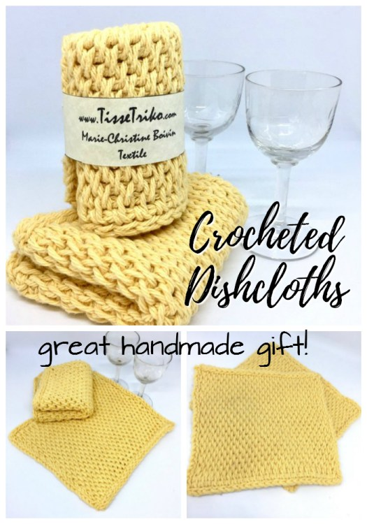 Lovely hand-crocheted dishcloths! Perfect gift for a colleague! Love the yellow! #dishcloths #handmadegifts #crocheted #crafts #giftideas #cowrokergifts #coworker #colleague #etsy #craftevangelist