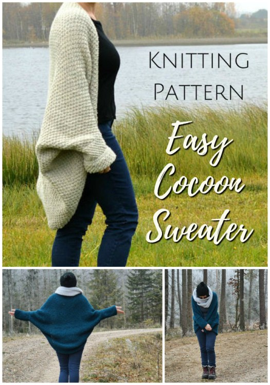 Easy knitting pattern for this lovely textured stitch cocoon sweater. So cozy for the fall & winter! Can't wait to make this for the office! #knitting #pattern #knit #yarn #crafts #sweater #cardigan #cocoon #craftevangelist