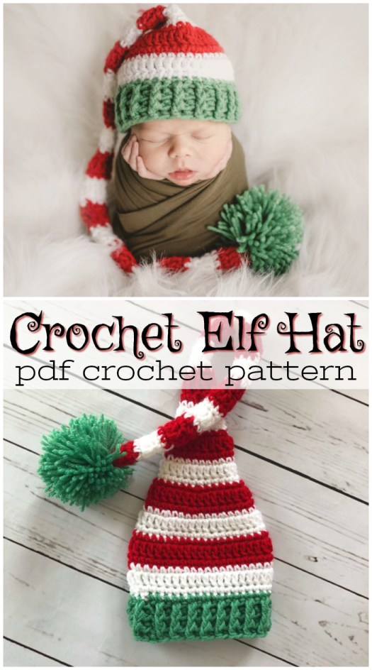 Adorable crochet pattern for a sweet little baby santa elf hat, perfect photo prop for Christmas baby pictures! #crochet #pattern #christmas #santa #hat #elf #baby #beanie #toque #photoprop #crafts #yarn #craftevangelist