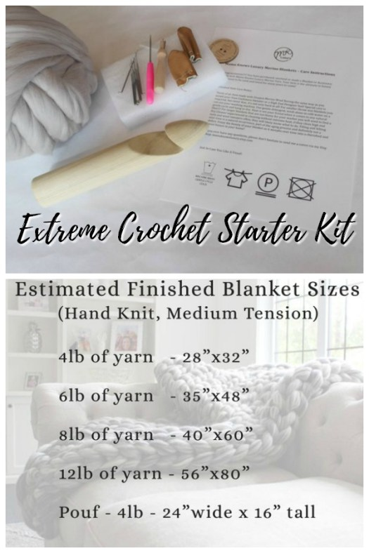 Want to get started with extreme crochet with big yarn? This is the perfect starter project for you. Kit complete with yarn and large crochet hook! Everything you need to get started #crochet #bigyarn #starterkit #beginner #yarn #crafts #craftevangelist