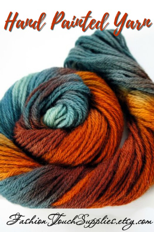Gorgeous colourway in this hand-painted yarn! Love these colours! A fantastic skein of yarn makes a lovely gift for a knitter! Great idea! #crafts #knitting #giftsforknitters #yarn #yarnlove #craftevangelist #handpaintedyarn #teal #rust #orange #brown