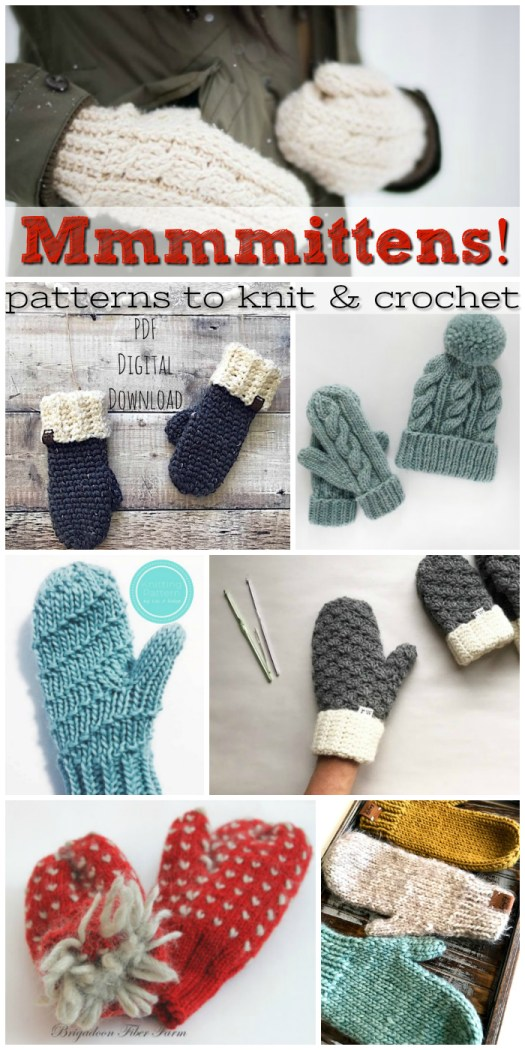 Seven lovely mitten patterns to knit & crochet! Mittens make such a lovely handmade gift to give and they work up so quickly! #knit #crochet #patterns #roundup #warm #gloves #yarn #crafts #craftevangelist