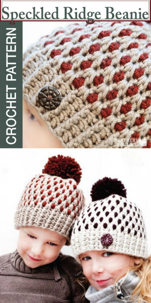 I love the pops of colour int he speckled ridge beanie crochet pattern! what a fun hat to make as a gift! Love it! Great for kids. #crochet #pattern #hat #beanie #toque #yarn #crafts #craftevangelist