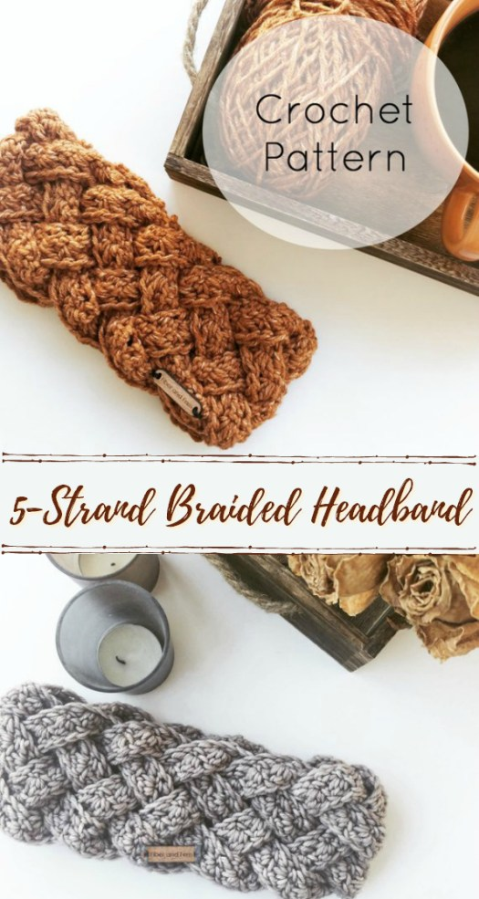 Gorgeous 5-strand braided crochet headband pattern! I love this look! Can't wait to make one of these. Works up quickly for a super last minute handmade gift idea! #crochet #pattern #braid #braidcrochet #headband #lastminute #giftidea #handmadegifts #yarn #crafts #diy #christmas #earwarmer #craftevangelist