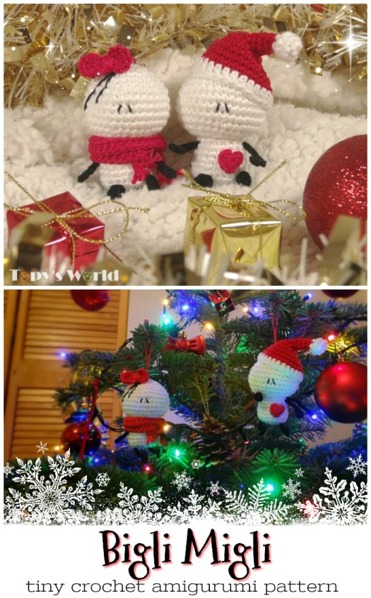 Awwww.. I love these tiny Bigli Migli stuffed amigurumi crocheted toys! There is a link here for the pattern to make your own adorable little characters for your own tree. Makes a great last minute crocheted gift! #crochet #pattern #yarn #crafts #amigurumi #tiny #biglimigli #craftevangelist