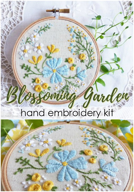 Gorgeous complete embroidery kit to make this lovely Blossiming Garden hand embroidery project. Maybe this is what I should do over winter break! #embroidery #pattern #kit #embroideryhoop #embroideryproject #sewing #fabric #crafts #craftevangelist