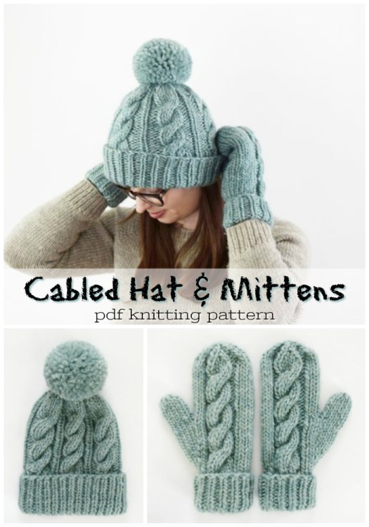 Classic cable-knit hat and mittens pattern! Perfect combo for a lovely handmade gift idea! I love this simple, classic pattern! #mittens #hat #yarn #knitting #pattern #crafts #craftevangelist