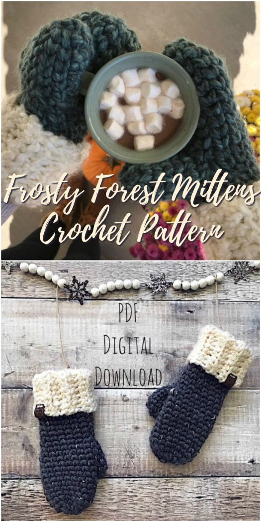 Thick and chunky cozy crocheted mittens pattern! Love how chunky these are! And I love this split single crochet stitch! It closes up the crochet stitch so it's extra warm! #crochet #pattern #mittens #warm #christmas #yarn #crafts #craftevangelist
