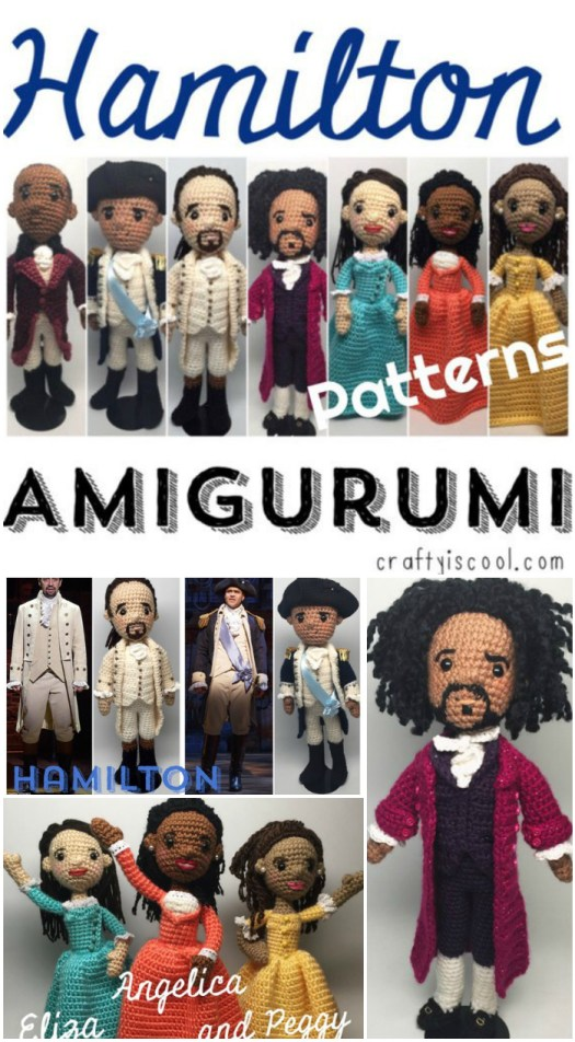 Hamilton the Musical amigurumi patterns! HOW COOL ARE THESE?! Time to make some for my daughter! So awesome! #crochet #amigurumi #pattern #hamilton #angelica #eliza #yarn #crafts #craftyiscool #yarncrafts #crochetpattern #craftevangelist