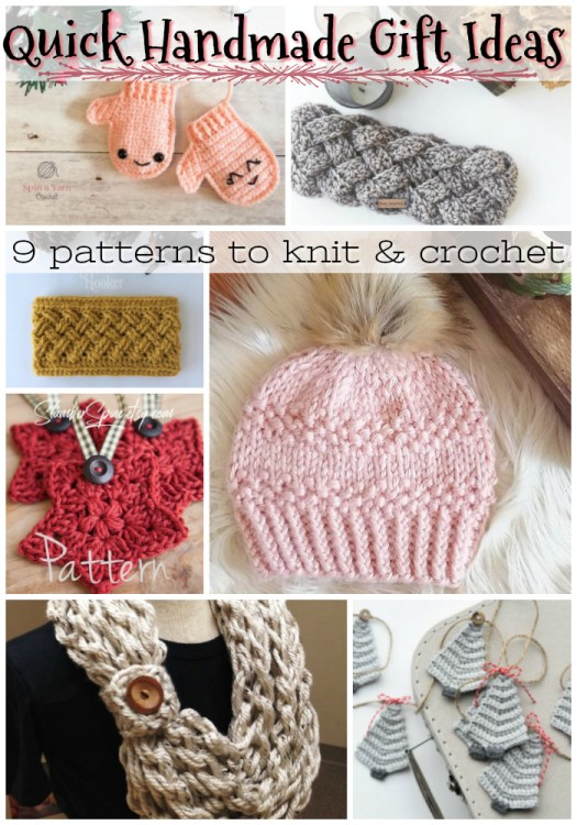 Nine quick knit and crochet projects that you still have time to make before Christmas! Get to work! I love the star pattern! #crochet #knit #pattern #yarn #diy #crafts #handmadegifts #handmade #giftideas