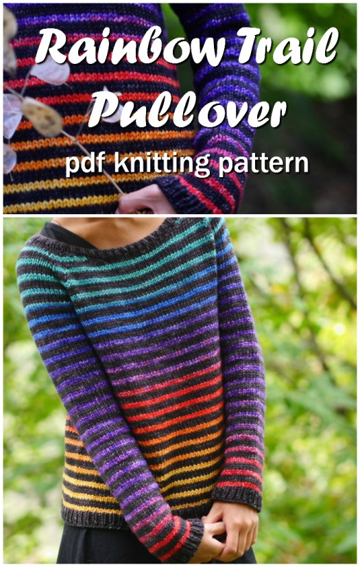 Rainbow Trail pullover simple striped knitting pattern for women. I love this colour-way! It looks so good with the stripe! I should make this over Christmas break! #knitting #knit #pattern #sweater #pullover #yarn #crafts #knittingforwomen #craftevangelist