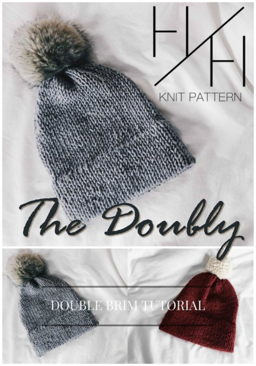 Love this simple all stockinette stitch beanie pattern! Those gorgeous faux fur pompoms are awesome! #knit #knitting #pattern #beanie #toque #hat #doublebrim #craftevangelist