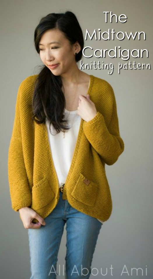 The Midtown Cardigan is a classic wardrobe staple that can be worn year-round, adding a stylish touch to any outfit! Knit this oversized, relaxed and slouchy cardigan using the beautiful garter stitch! #knittingpattern #knit #pattern #cardigan #knitcardigan #yarn #crafts #allaboutami #craftevangelist