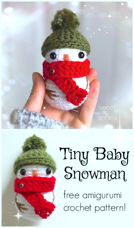 Free pattern for this Crocheted Tiny Baby Snowman! Isn't he adorable?! Love this sweet little snowman pattern! #crochet #pattern #amigurumi #yarn #crafts #freepattern #christmas #snowman #stuffedtoy #tiny #craftevangelist