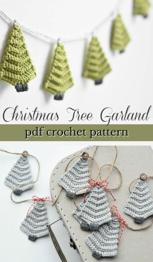 Such a lovely crochet pattern for this simple Christmas tree garland! Make a whole garland or make one as a tree ornament. Makes a quick handmade gift! #crochet #pattern #applique #garland #christmas #handmadegift #handmade #yarn #crafts #craftevangelist